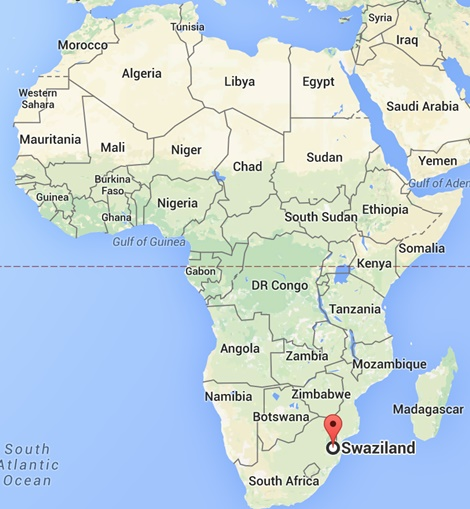 Svaziland Neresi, haritada nerde