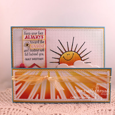 Our Daily Bread Designs Stamp sets: Sunshine Blessings, ODBD Custom Dies: Pennants, Sunburst Background, Clouds and Raindrops, Birds and Nest
