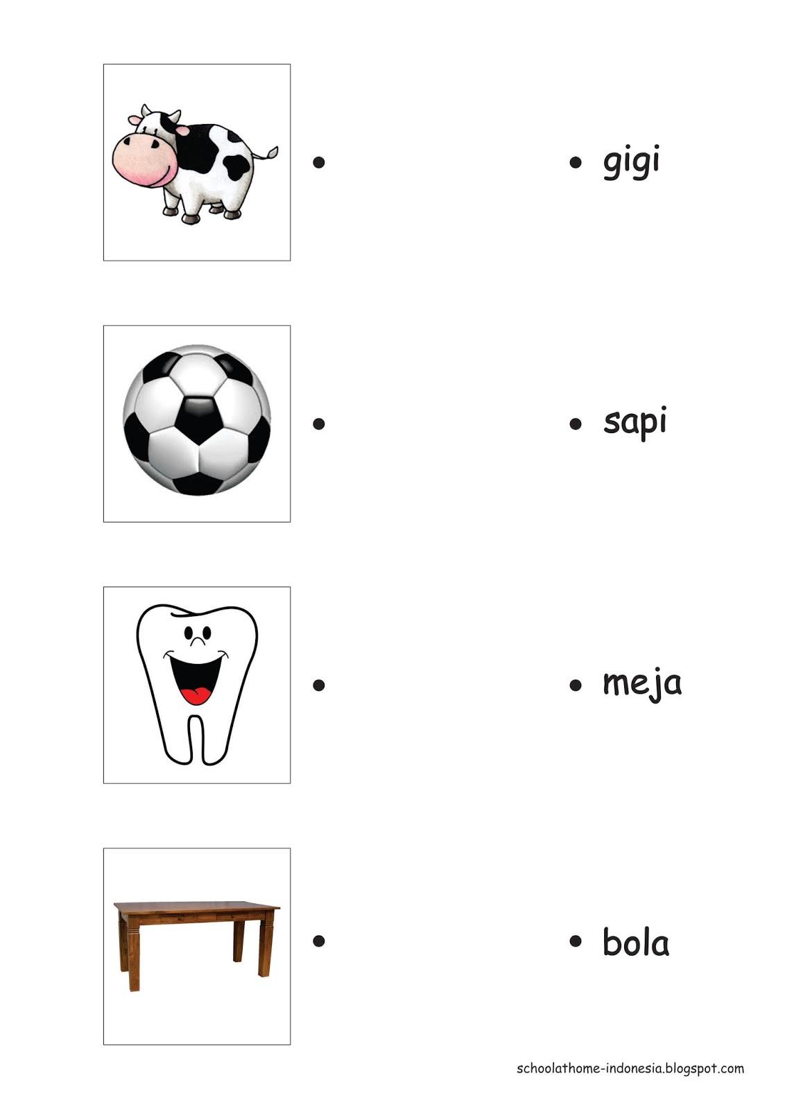 School At Home Belajar Membaca Dengan Mencocokan Gambar