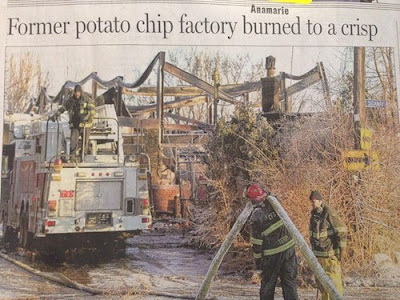 firefighters putting out factory fire funny newspaper headline