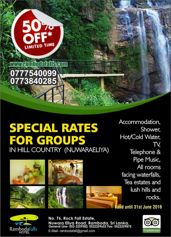 Special rates for tour groups in hill country  (Nuwaraeliya)