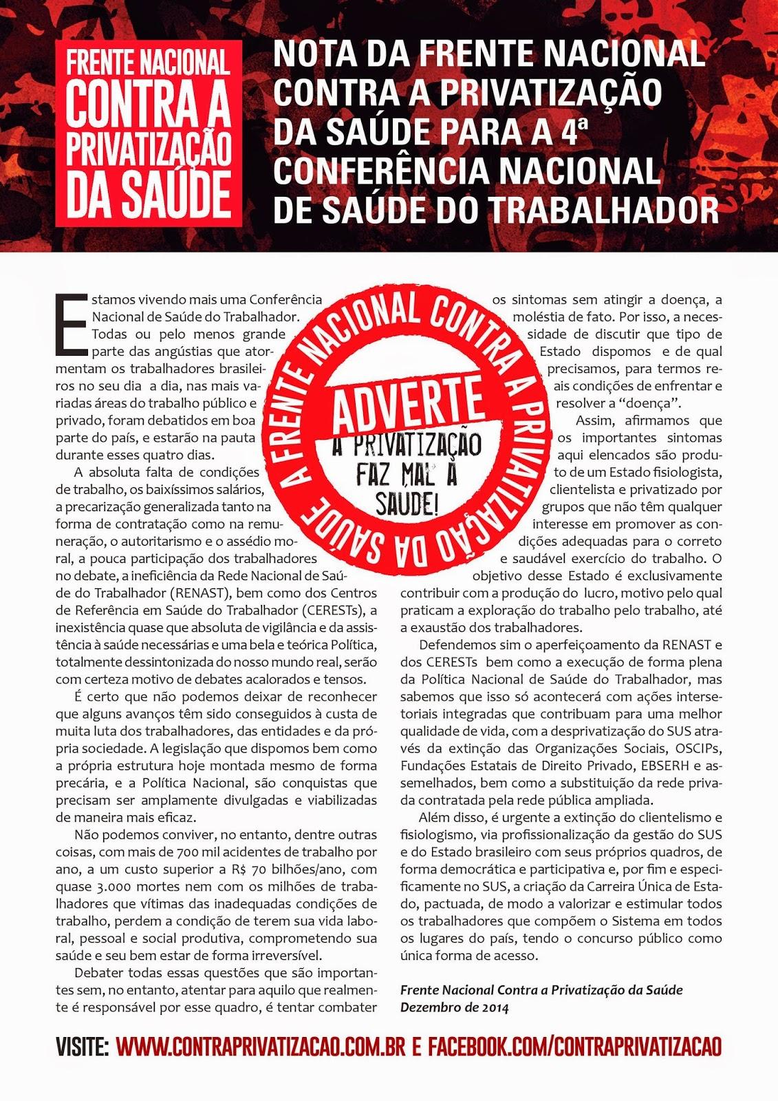 2014 ~ Frente Nacional Contra a Privatização da Saúde