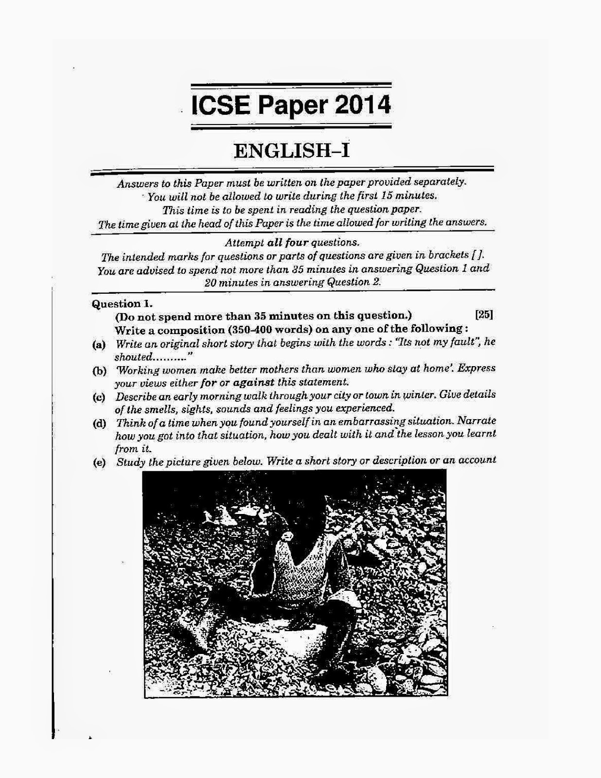 ICSE 2014: English Language Solved Board Question Paper Class 10 ...