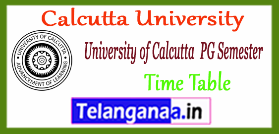 Calcutta University MA M.Sc M.Com PG 1st 3rd Semester Time Table 2017-18 Admit Card