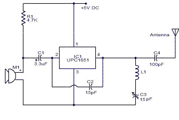 Upc1651 Fm Transmitter Electronic Schematic Circuit