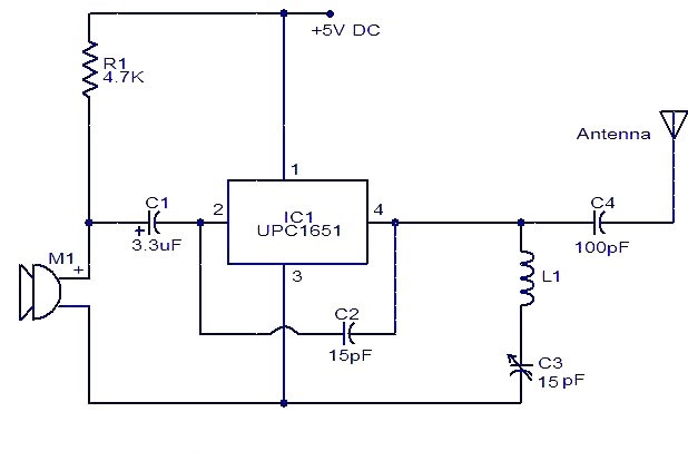 Upc1651 Fm Transmitter Electronic Schematic Circuit