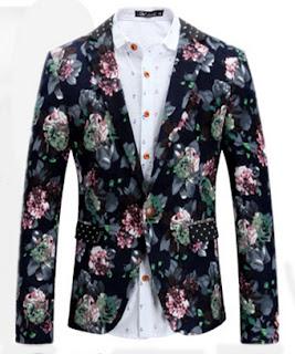 Floral Polkadot Lapel Elegant Mens Blazer