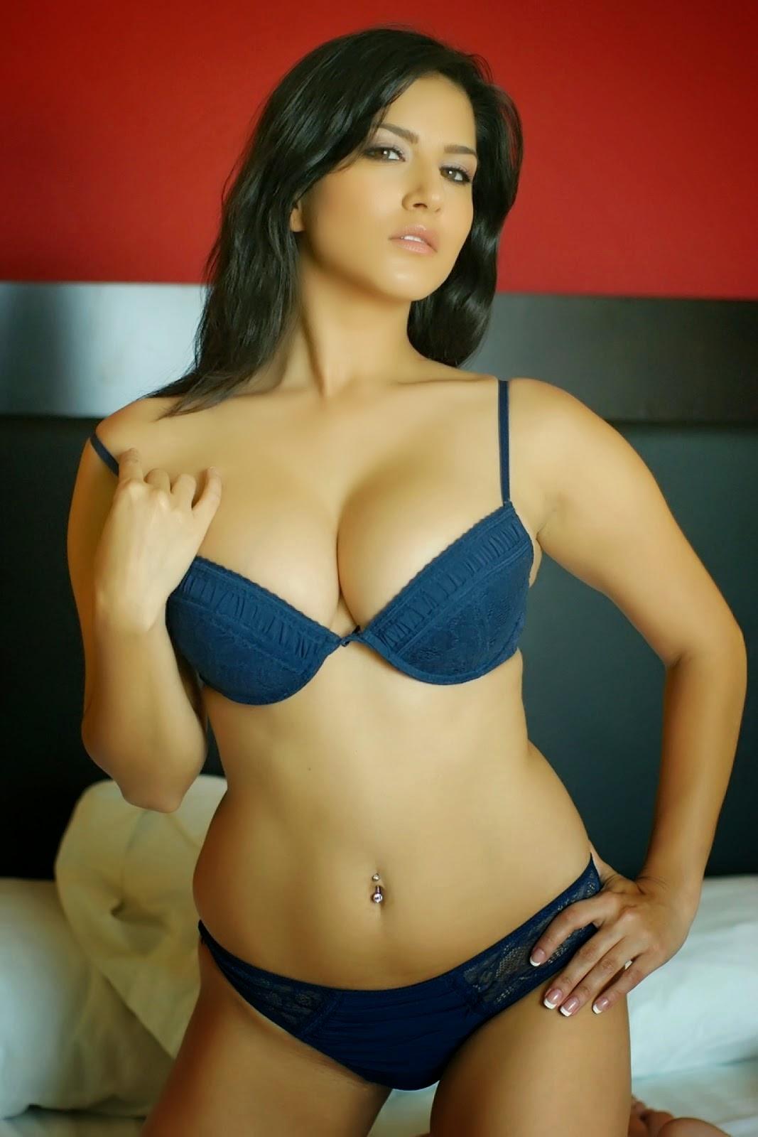 Sunny Leone Hot Images In Blue Bikini - Hot4Sure-7781