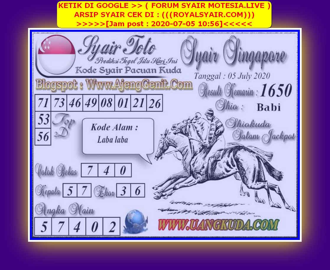 Kode syair Singapore Minggu 5 Juli 2020 102