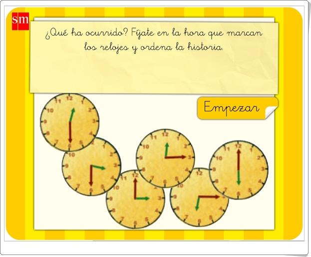 """Aprende con Pupi: """"Ordena los relojes"""" (Juego de Matemáticas de Primaria)"""