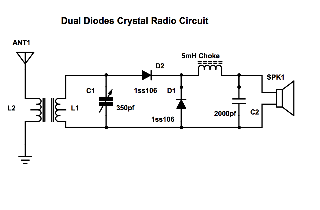 then i tried this dual diode circuit invented by a member of the chinese crystal  radio forum  i can boost the dc current to 250ua