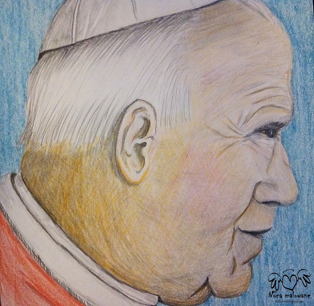 Papież kredkami rysowany
