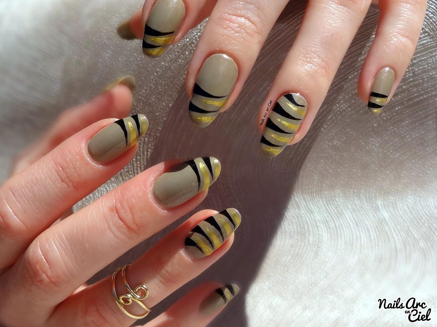nails arc en ciel tuto nail art tigr facile au liner. Black Bedroom Furniture Sets. Home Design Ideas