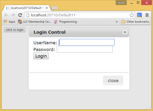 How to show login form in modal popup window in ASP.NET