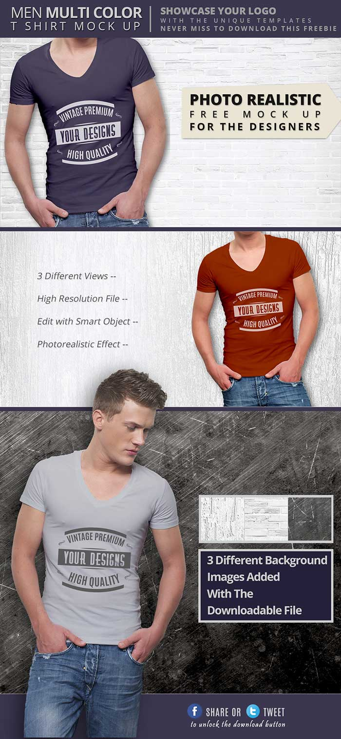 Men V-Neck Mockup PSD