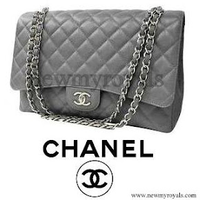 Queen Maxima style Chanel Grey caviar leather coco bags