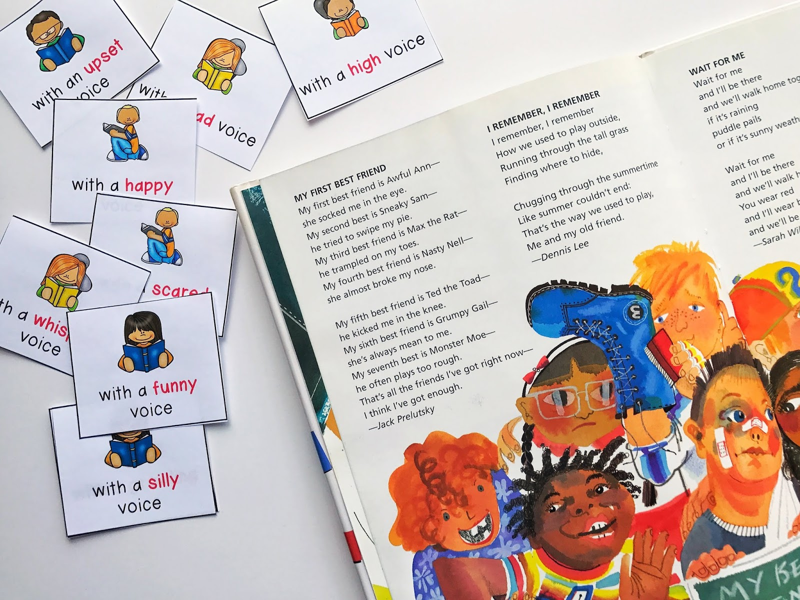 Increase fluency while reading poetry by having students use voice cards.  This will have them practicing using several different voices to read the same poem, and in turn, increasing fluency and expression.