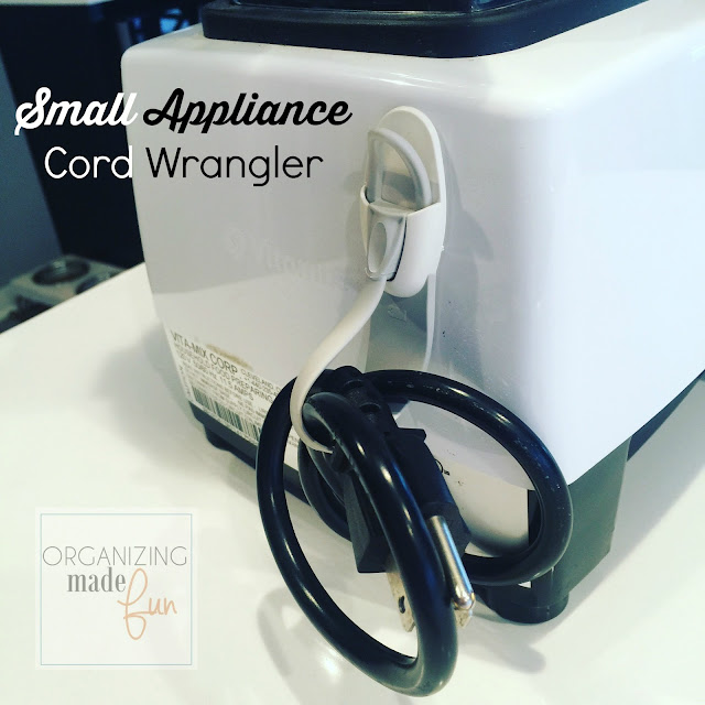 Wrangle your small appliance cords using a cord bundler :: OrganizingMadeFun.com