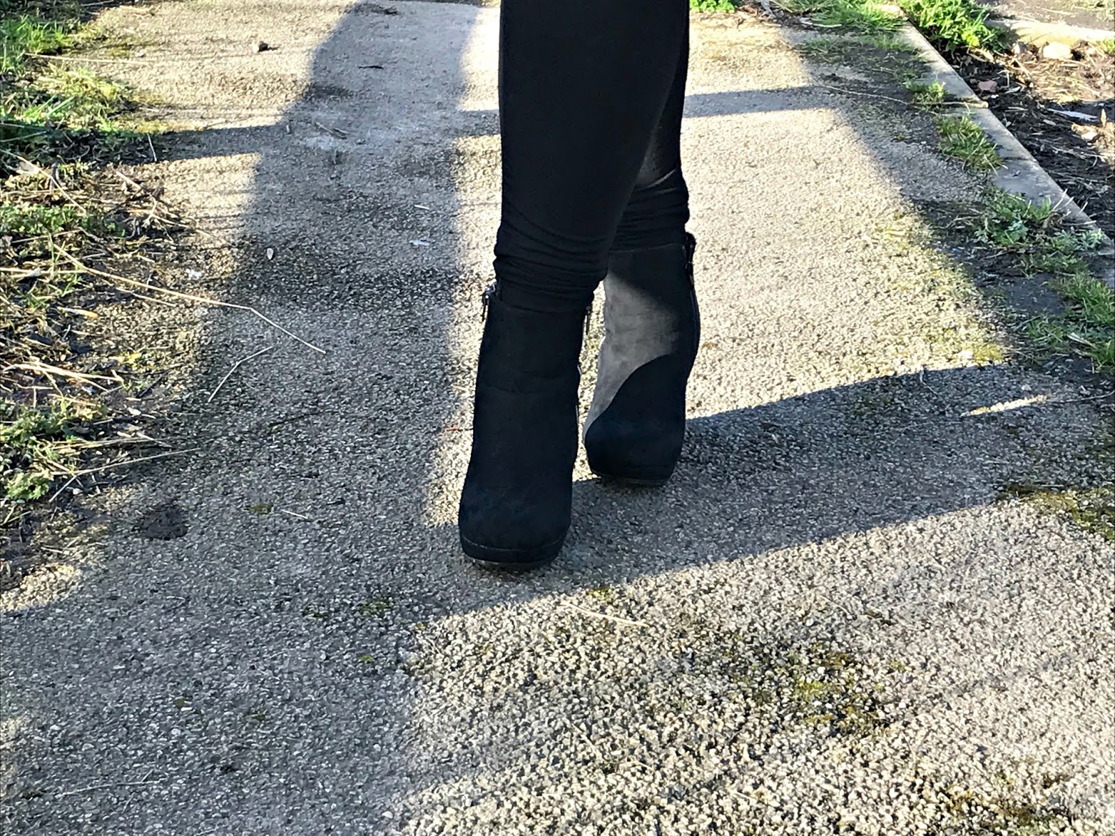 Black wedge heel ankle boots Evans