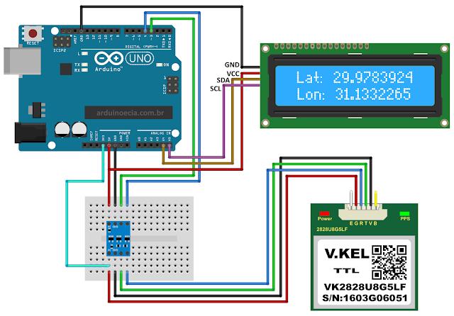 Circuito GPS Arduino e Display LCD 16x2 I2C