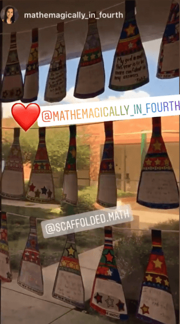 Ms. Z's matholution pennant display shared on Instagram stories.