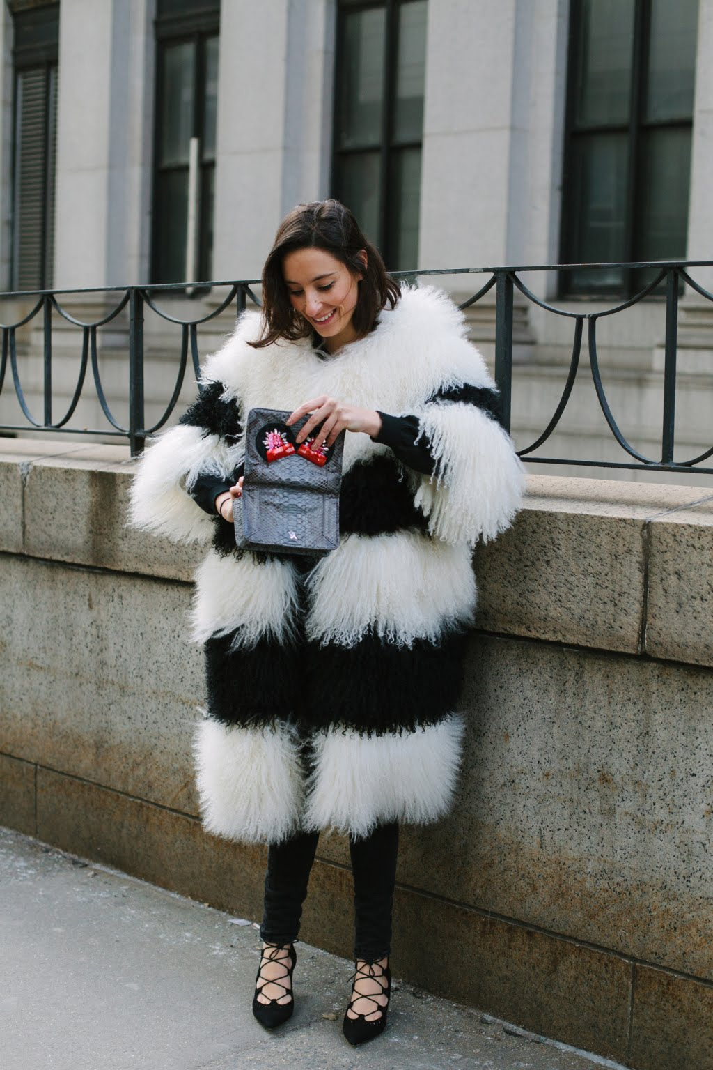 black white faux fur coat, outfit, fashion blogger, ootd, ootn