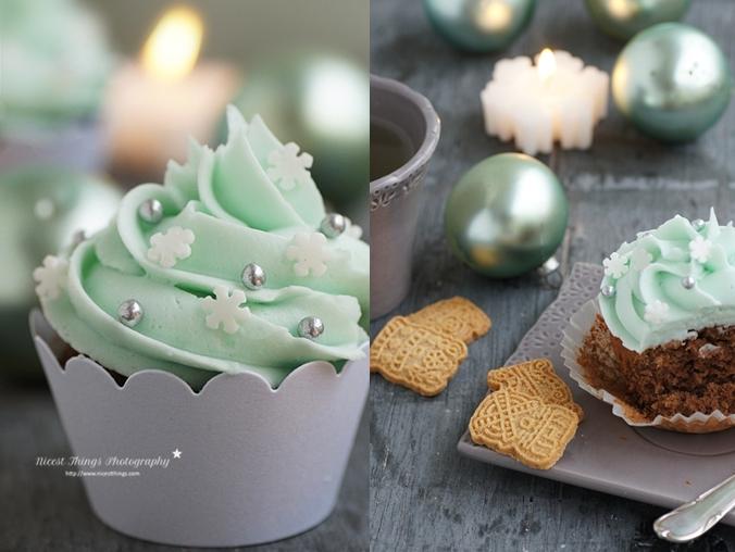 Spekulatius Cupcakes mit grünem Schneeflocken Frosting