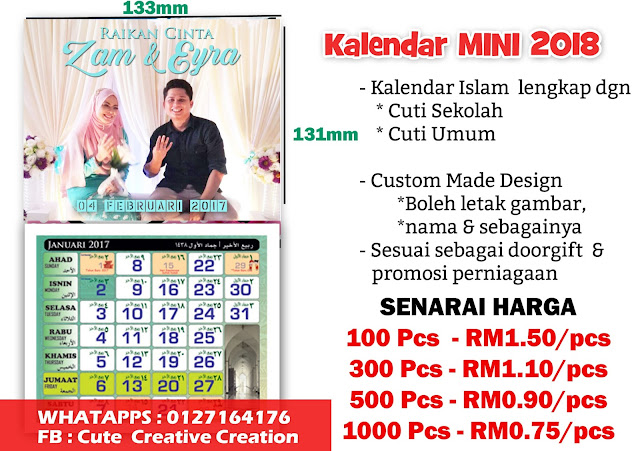 kalendar doorgift wedding