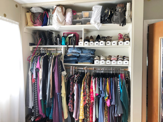 Organized closet using Container Store shoe bins and shelf dividers
