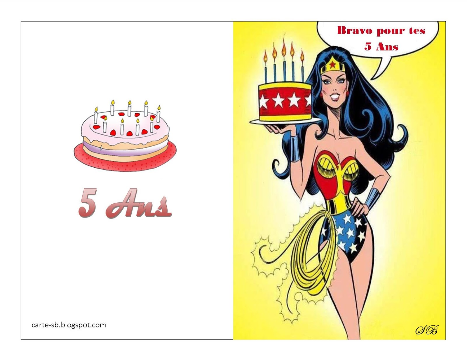 Carte gratuite à imprimer: carte anniversaire 5 ans à imprimer