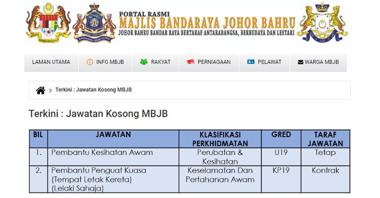 Jawatan Kosong Terkini di Majlis Bandaraya Johor Bahru MBJB