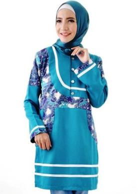 Model gaun atasan batik kombinasi polos berhijab