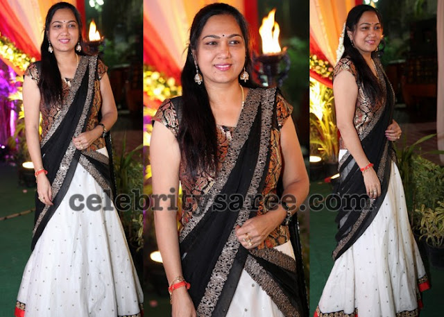 Hema in White Half Saree