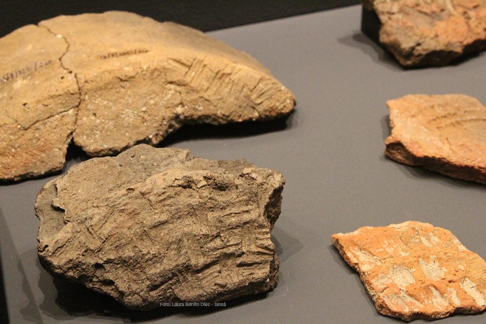 Fragmentos de cerámicas con improntas de antiguos cestos, procedentes de Molino Sanchón II (Villafáfila, Zamora)
