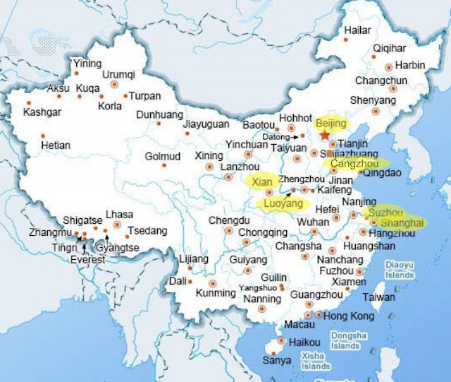 Map of China, with locations mentioned in this article highlighted in yellow