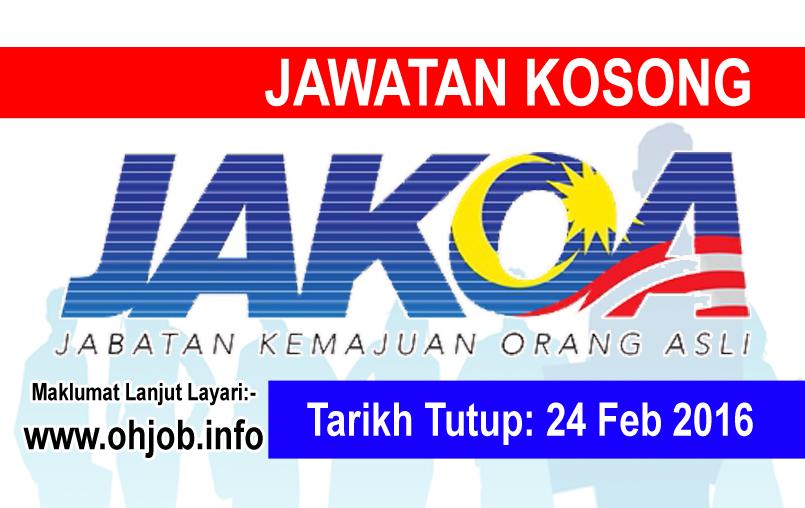 Jawatan Kerja Kosong Jabatan Kemajuan Orang Asli (JAKOA) logo www.ohjob.info februari 2016