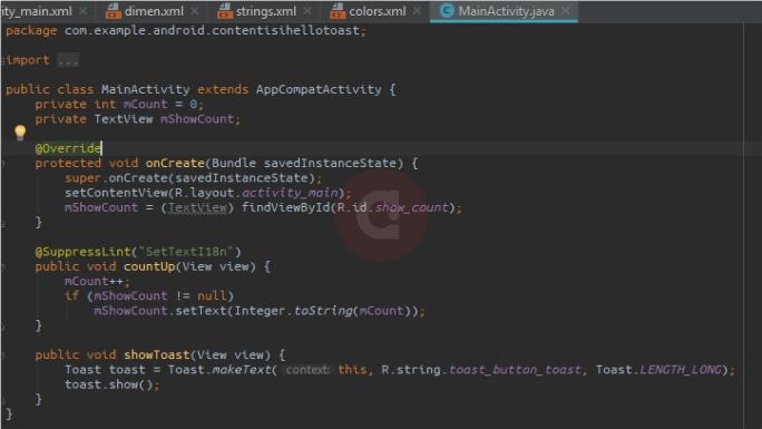 Full Script MainActivity Hello Toast