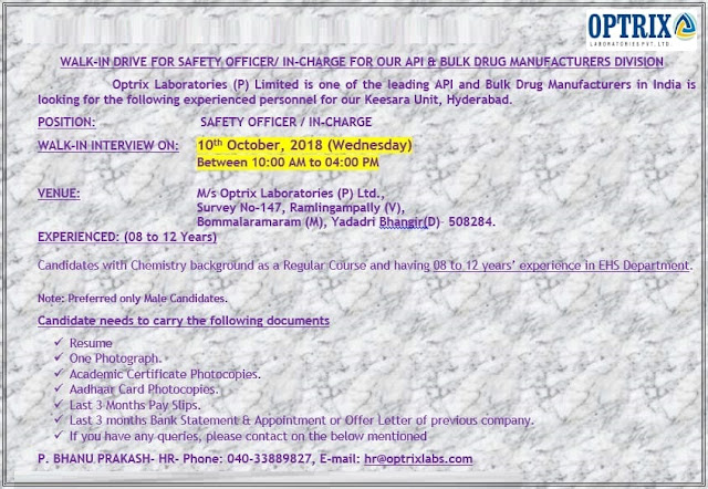 Optrix Laboratories Ltd Walk In Drive for Safety Officer / Incharge - API & Bulk - Manufacturing at 10 October