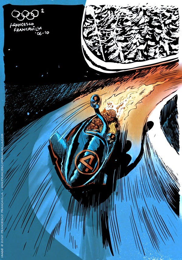 04-The-Fantastic-Four-Bobsleigh-Francesco-Francavilla-Winter-Superhero-Olympics-www-designstack-co