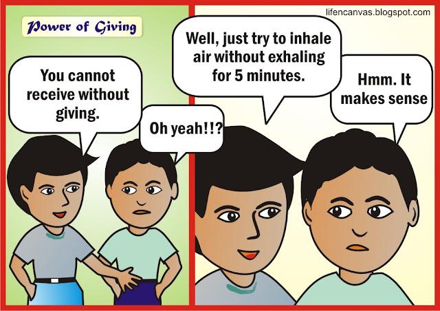 giving cartoon