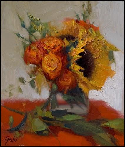 Girassóis e Rosa - Ignat Ignatov e suas mais belas pinturas  ~ Pintora russa