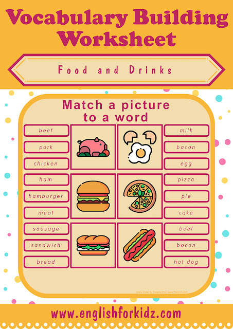 Free printable food worksheet for English learners