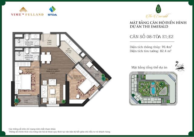 Thiết kế căn 08 tòa E1 - E2