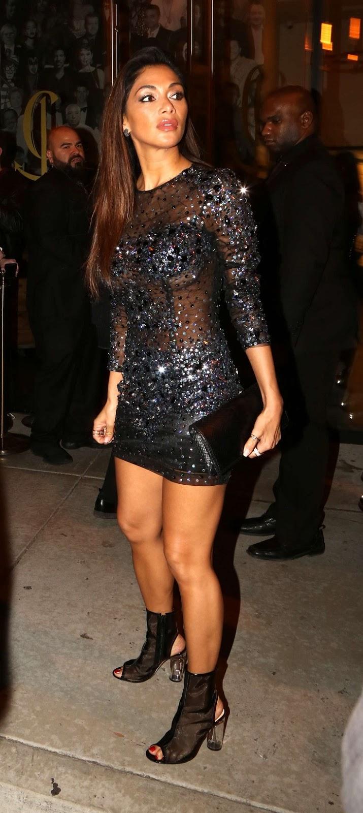 Nicole Scherzinger bares sideboob in embellished mini dress at Grammys After Party
