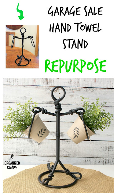 Garage Sale Hand Towel Stand Repurposed As A Plant Stand #repurpose #upcycle #garagesalefinds #metalpail #stencil