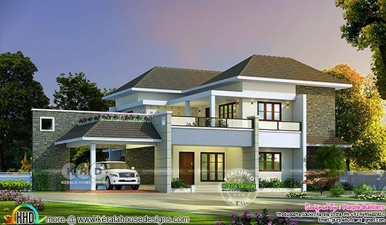 Awesome 2580 square feet 4 BHK Kerala house plan