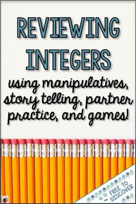 Reviewing integers using manipulatives, story telling, partner practice, and games