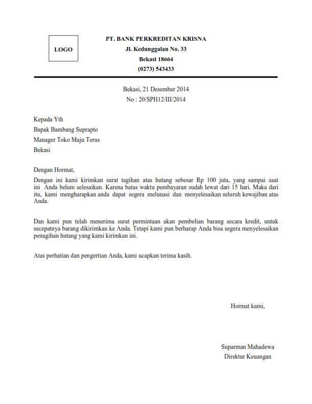 Contoh Surat Penagihan Hutang Bank