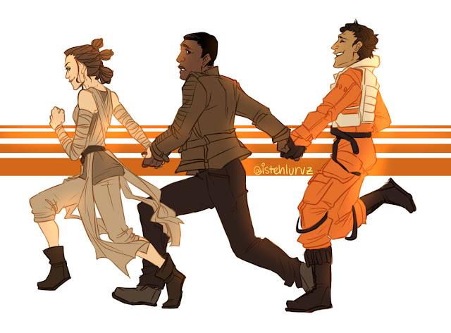 Na imagem: Fanart de Rey, Finn e Poe correndo de mãos dadas