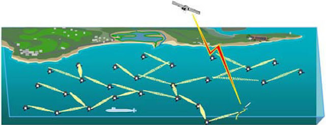 Figure 5. (c) An overview of the whole underwater acoustic sensor network.